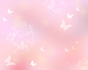 Pink shine with butterflies as abstract lights background