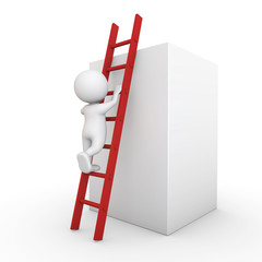 3D Minimalistic Person - Climbing Up A Ladder