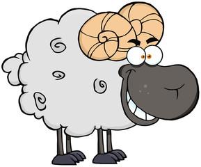 Happy Black Ram Cartoon Mascot Character