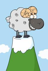 Black  Ram Cartoon Mascot Character On Top Of A Mountain Peak