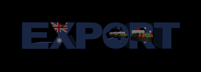 Export text with Australia flag and container ships illustration