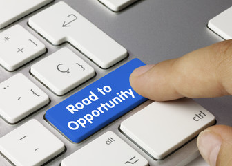 Road to Opportunity keyboard key. Finger