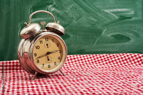 Clock at table