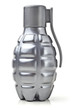 Model grenade. Grenade-shaped bottle. Vertically.