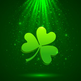 Green clover in the magic light background