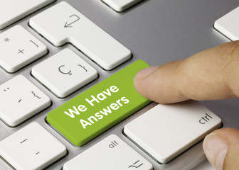 We Have Answers keyboard key. Finger