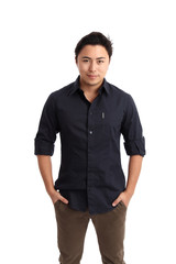 Young confident man in a blue shirt