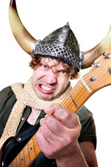 Intense Guitarist with Viking Helmet
