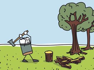 Couper du bois à la hache