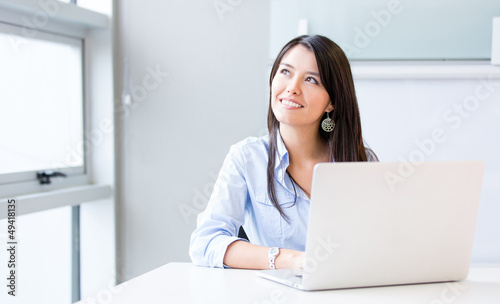 Penisve businesswoman working
