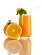 Glass of orange juice with mint and orange isolated on white