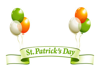 St.Patrick's Day banner with balloons in irish colors