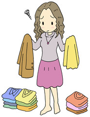 洋服で悩む女性