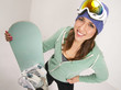 Snowboard and Fun Loving Female in Teal