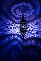 moroccan lamp with blue reflected pattern