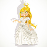 Cute princess in a white dress gives a hand expressing a consent