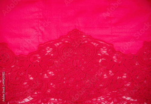 red fabric with ornament