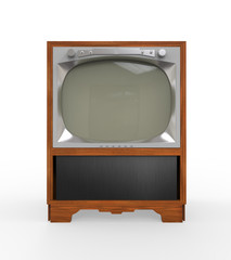 Old Vintage Television with Wooden Case