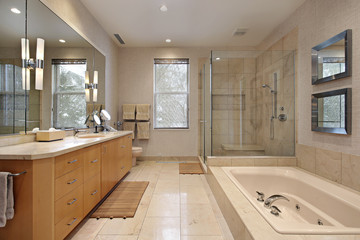 Master bath with oak wood cabinetry