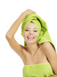 Beautiful happy woman after bath or spa