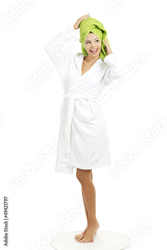 Attractive woman with a towel on her head