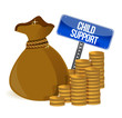 Bag with child support signs