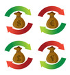 currency money bags cycle arrow signs