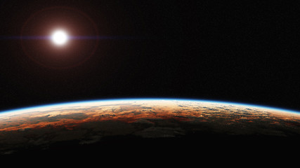 Computer generated image of dawn seen from space