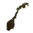 Dark silhouetted map of Norway