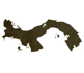 Dark silhouetted map of Panama