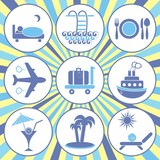 Travelling and accommodation icons poster