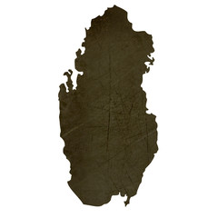 Dark silhouetted map of Qatar