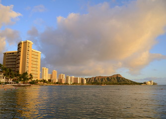Waikiki, Hawaii, Bathed In Golden Evening Sunlight