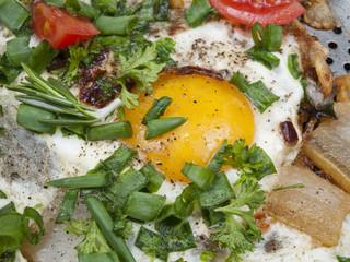 fried eggs with a crude yolk