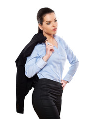 attractive businesswoman handle jacket