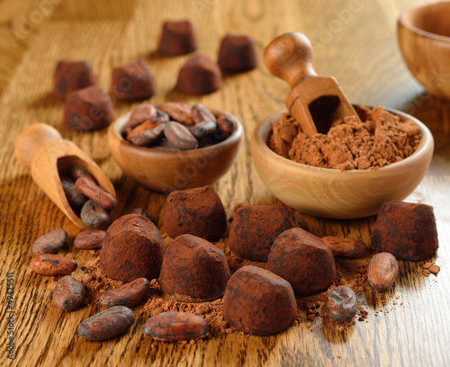 Chocolate truffles on a brown table