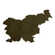 Dark silhouetted map of Slovenia