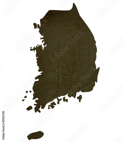 Dark silhouetted map of South Korea