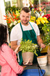 Smiling male florist selling potted plant flower