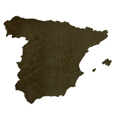 Dark silhouetted map of Spain