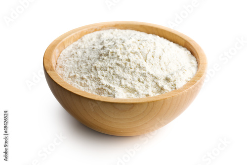 flour in wooden bowl