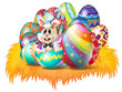 Easter eggs with an Easter bunny