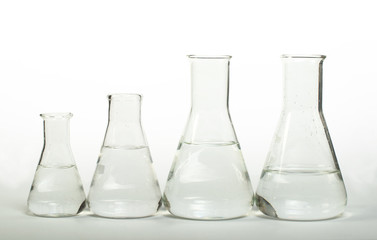 Empty glass laboratory utensils