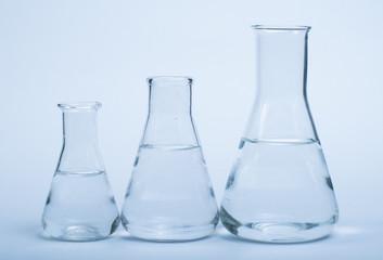 Empty glass laboratory utensils