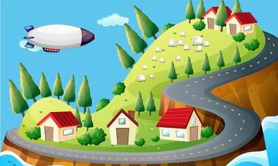 A spaceship and a village