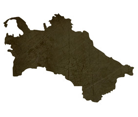 Dark silhouetted map of Turkmenistan