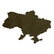 Dark silhouetted map of Ukraine