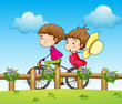 A couple riding a bicycle