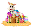 A king bunny with easter eggs