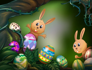 Easter eggs hidden in the jungle